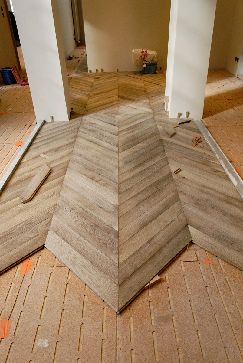 Laying Of The Chevron Oak Parquet Gray Leached