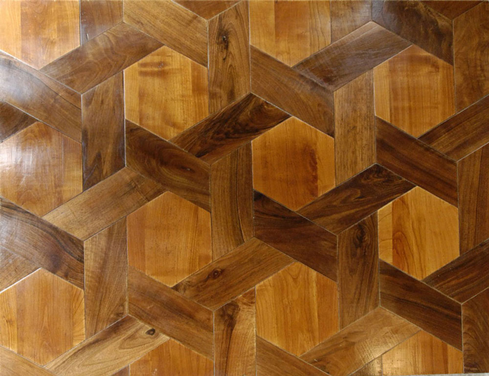 Parquet floor hexagon walnut cherry