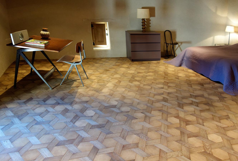 vue g n rale de la chambre meubl e parquet tapis hexagone en bois debout et bois de fil ch ne. Black Bedroom Furniture Sets. Home Design Ideas