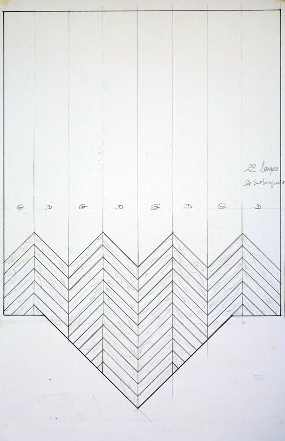calepinage parquet point de hongrie en ch ne gris lessiv dans un studio parisien n 988. Black Bedroom Furniture Sets. Home Design Ideas