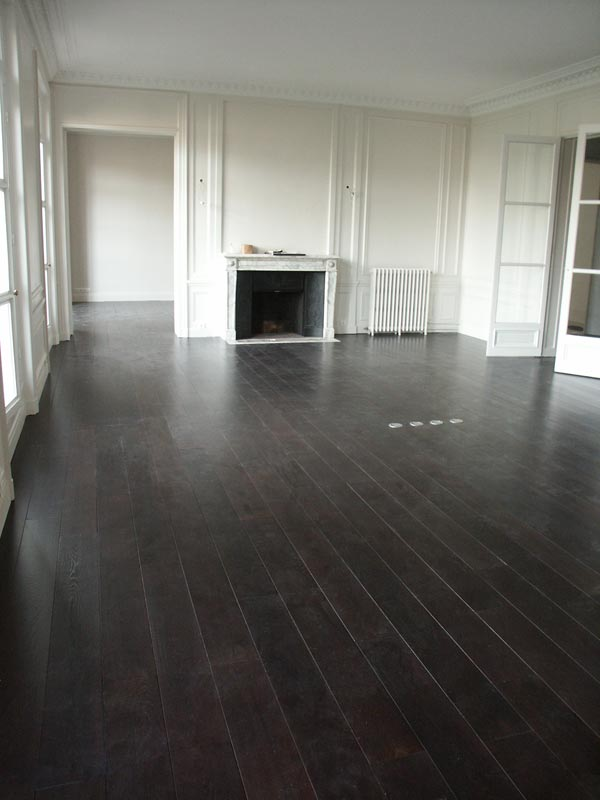 Dark hardwood floors wide plank dark hardwood floors for Black hardwood flooring